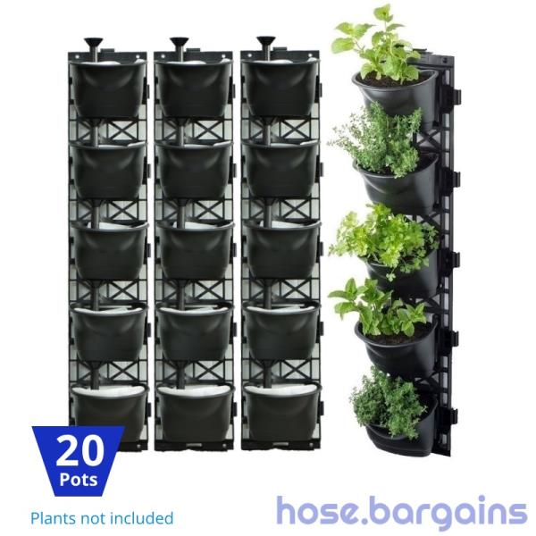 Vertical Garden Kit 20 Pots Green Wall Hanging Planter
