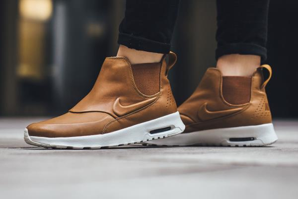 nike air max thea mid brown leather ankle boots size 5
