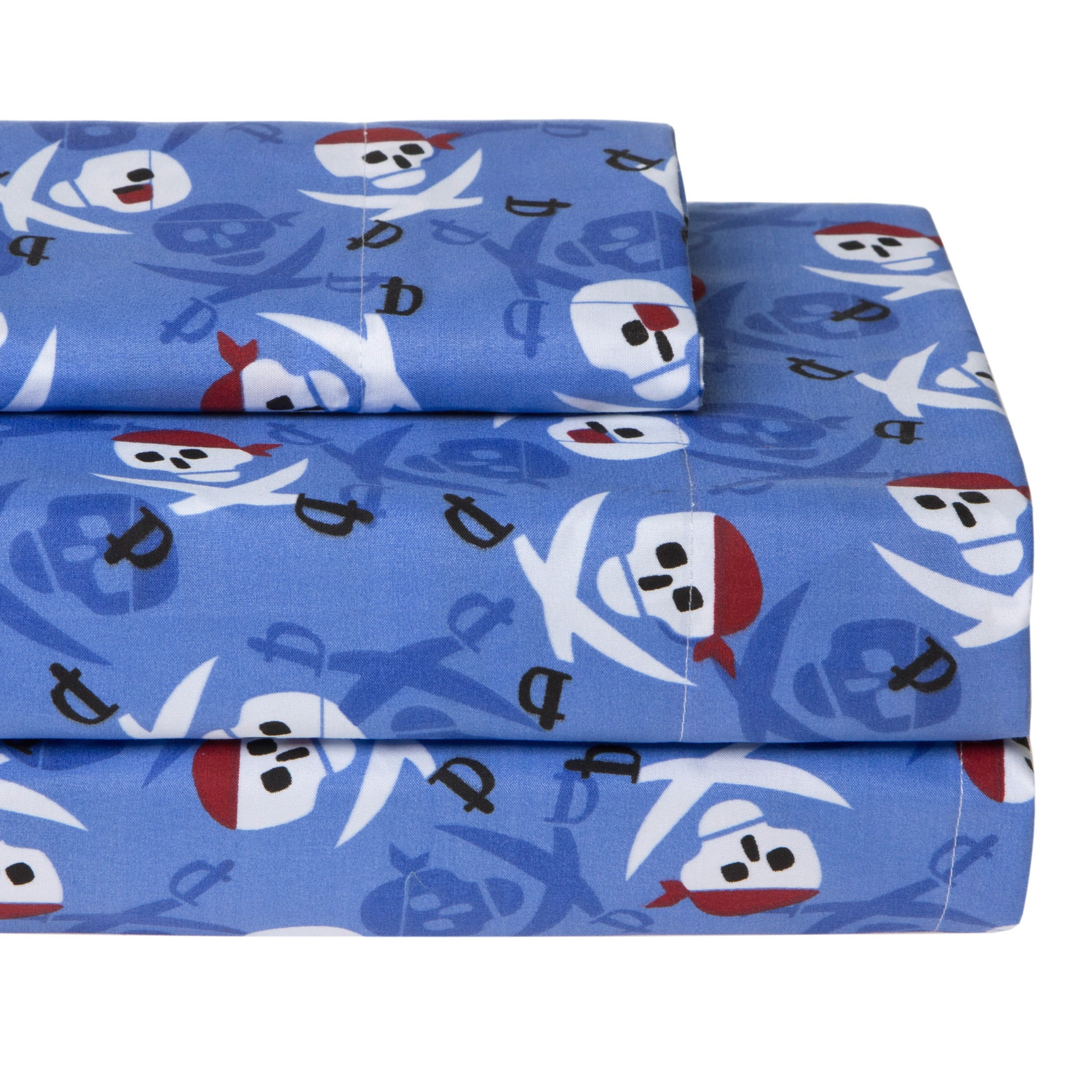 NEW Twin Full Bed Blue Black Red White Pirate Skulls Swords 4 pc Sheet Set  NWT. NEW Twin Full Bed Blue Black Red White Pirate Skulls Swords 4 pc