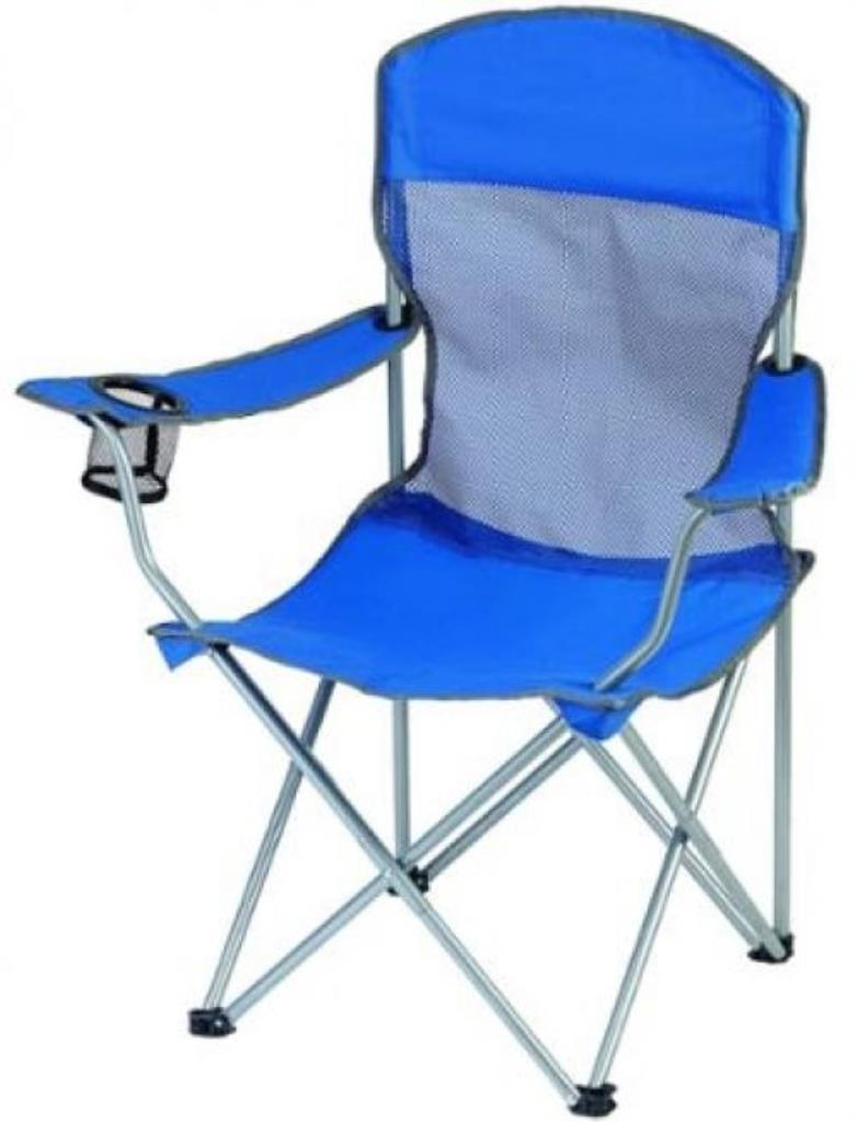 New Blue Foldable Camping Ozark Trail Basic Mesh Chair