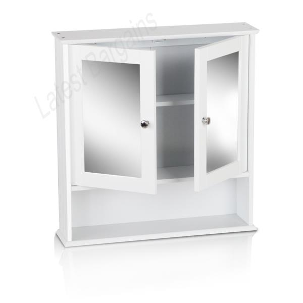 2 door mirrored bathroom cabinet white wall shaving