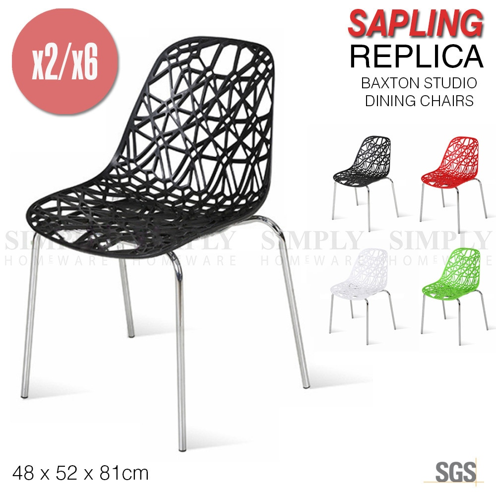 2x 6x Birch Sapling Replica Dining Chair Baxton Studio Accent Plastic Black Red