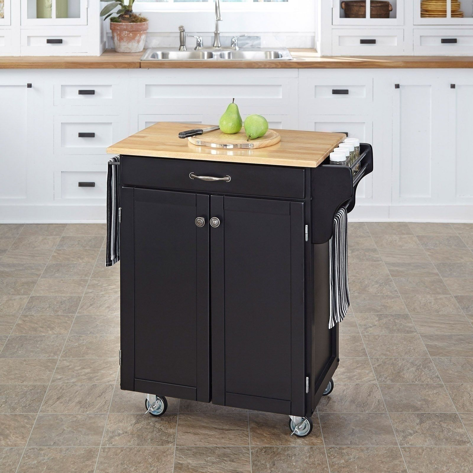 new wood kitchen trolley cart island butcher block cutting board table black nib ebay