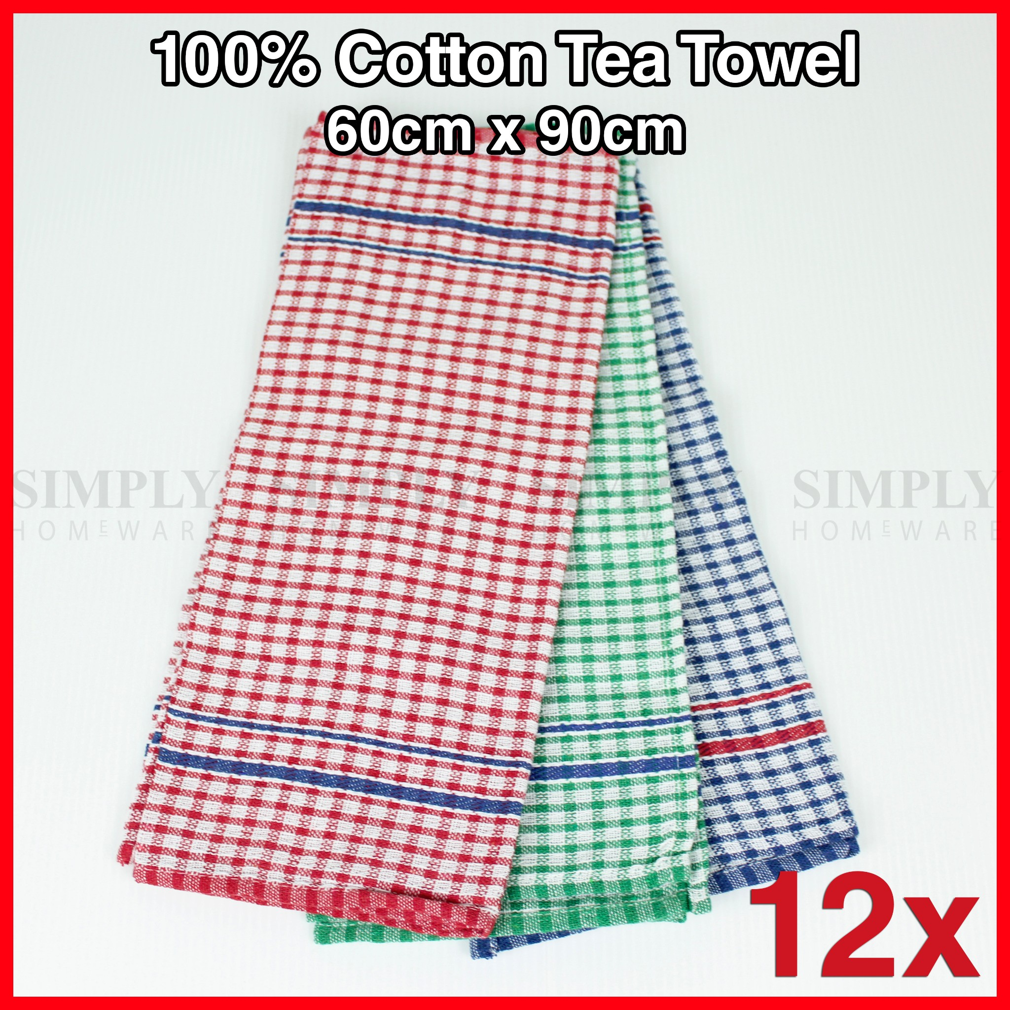 Bulk Tea Towel Hand Teatowels 100% Cotton Hotel Kitchen Linen 60 x 90cm 12 Pack