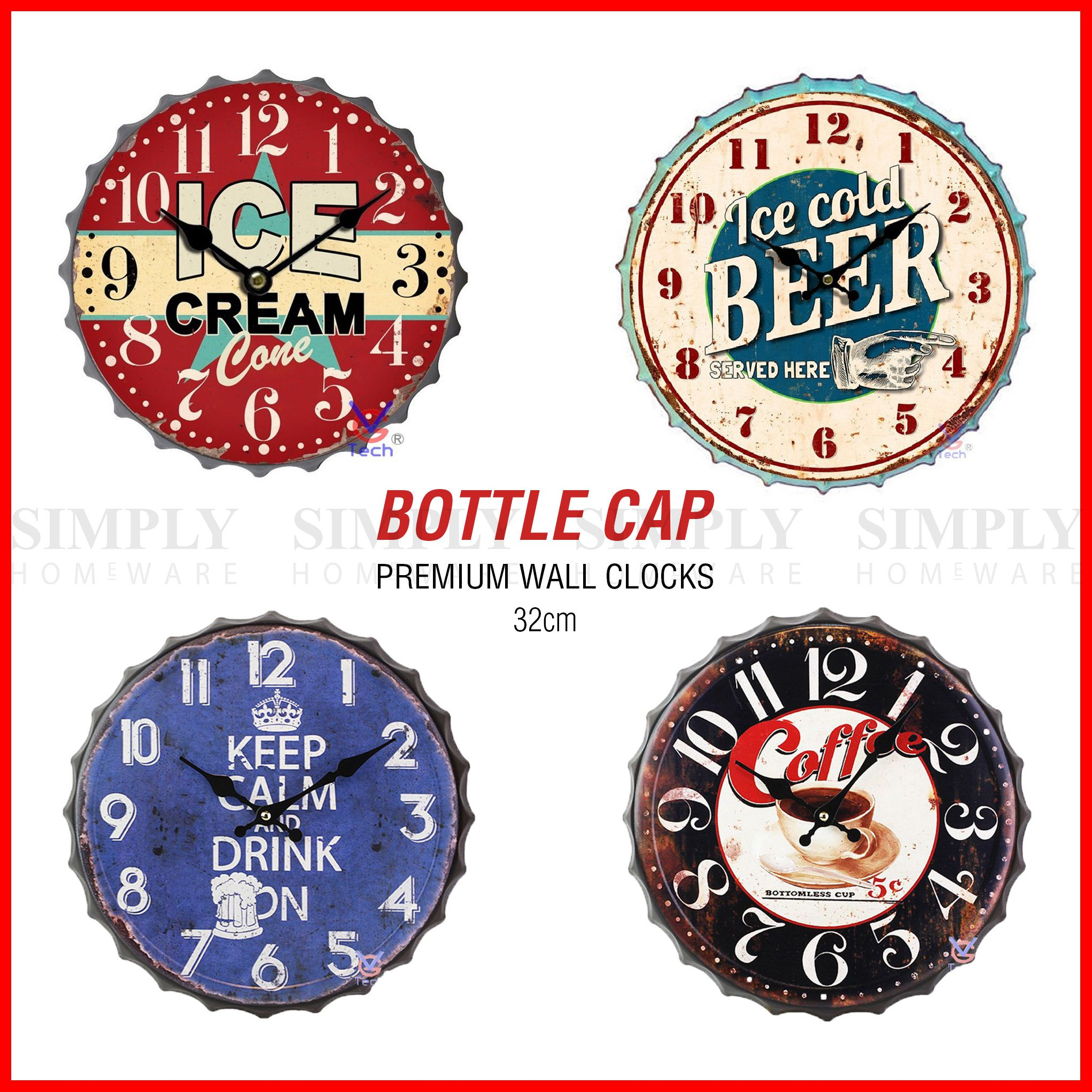 Vintage Retro Wall Clock Metal Bottle Cap Silent Shabby Chic Rustic Kitchen 32cm