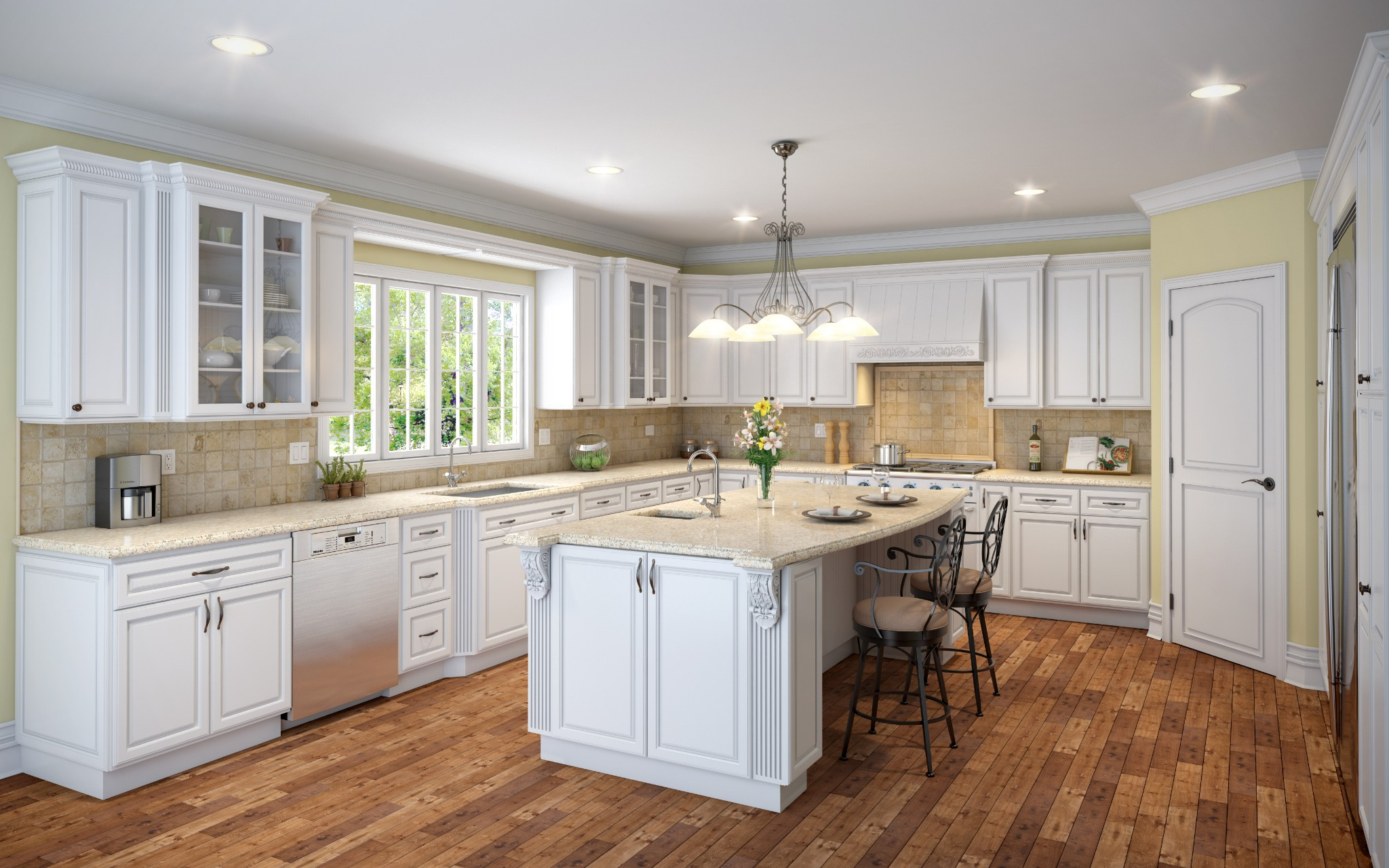 Wonderful image of Details about Solid Wood Kitchen Cabinets Sample Door in Raisd White  with #71482E color and 2048x1280 pixels