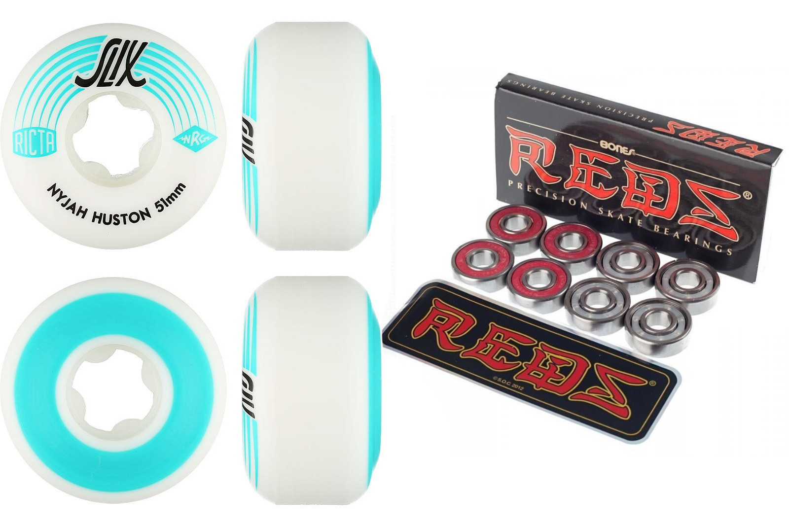 Ricta Wheels Nyjah Huston 51mm Slix 81b with Bones Reds Bearings