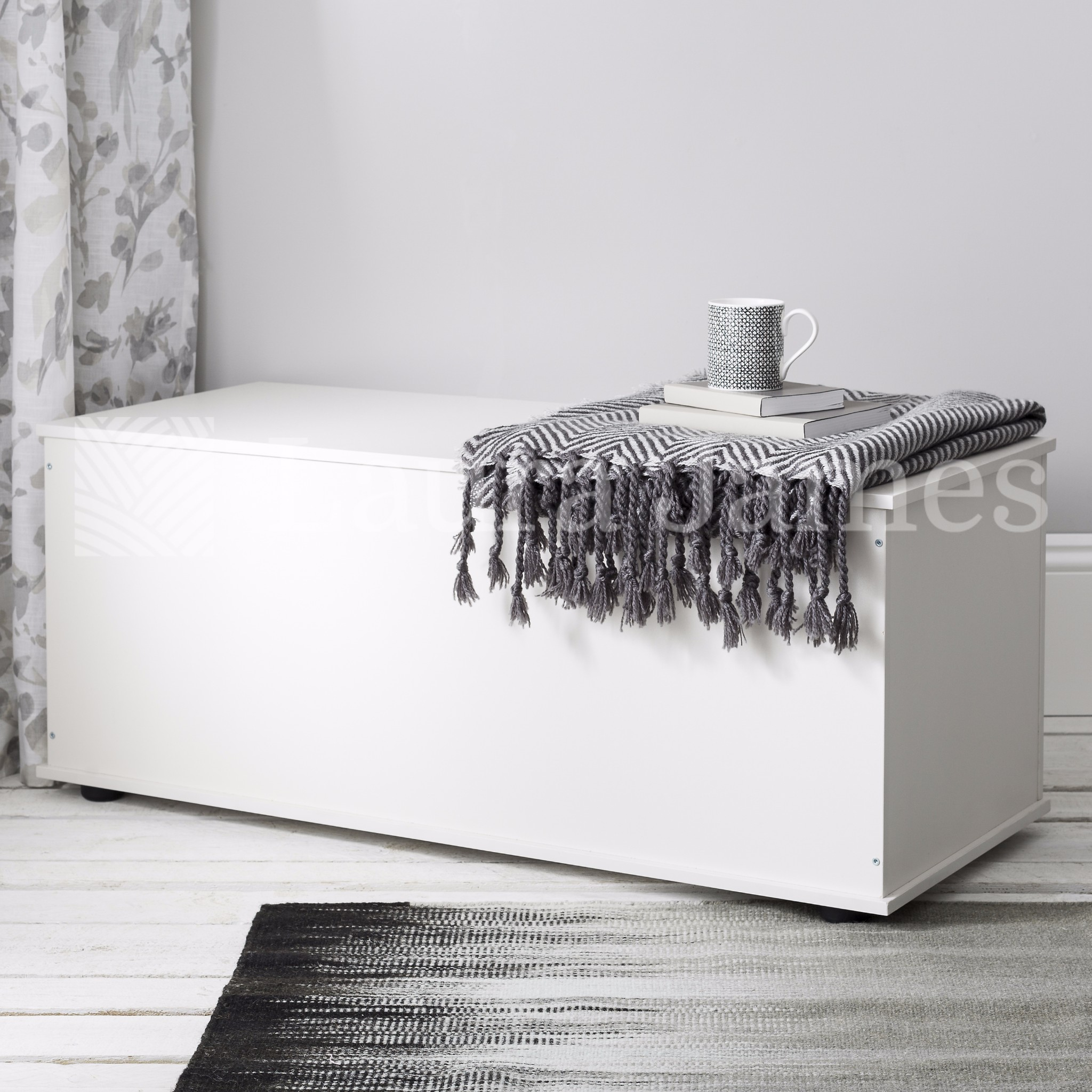 White Ottoman Storage Box Trunk Chest with lid also in Black Beech