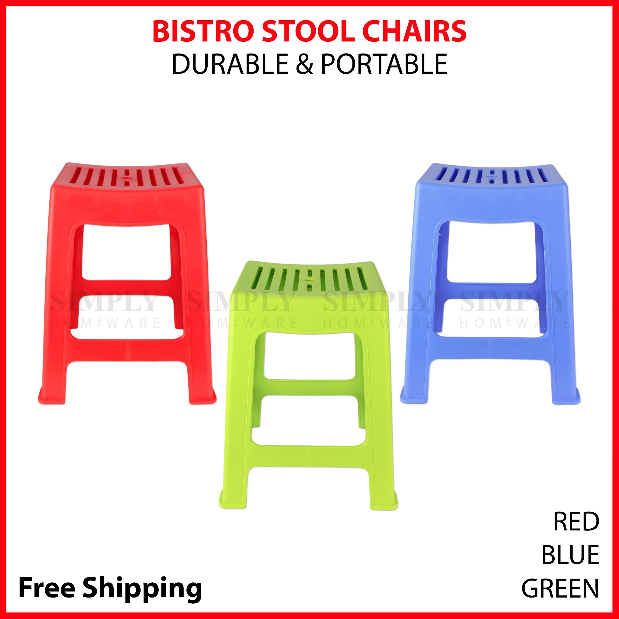 Plastic Bar Stool Bistro Chair Barstool Indoor Outdoor Chairs Red Blue Green