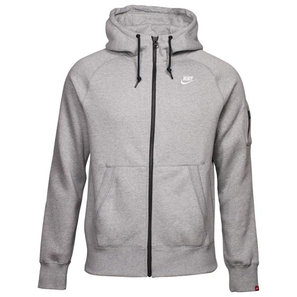 598759-063) MEN'S NIKE AW77 FLEECE FULL-ZIP HOODIE GREY HEATHER/WHITE