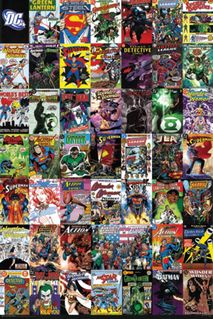 Book Cover Collage Poster : Justice league dc comic covers collage poster batman
