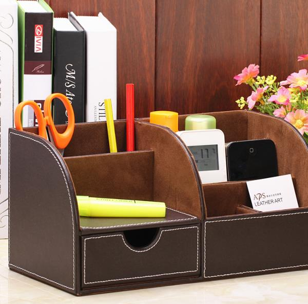 Leather desk drawer holder black desktop storage home - Black leather desk organizer ...