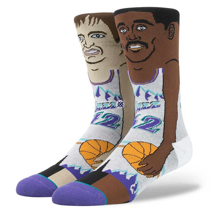 Stance Socks John Stockton Karl Malone Cartoon NBA SIZE L-XL FREE POST New Basketball Sox