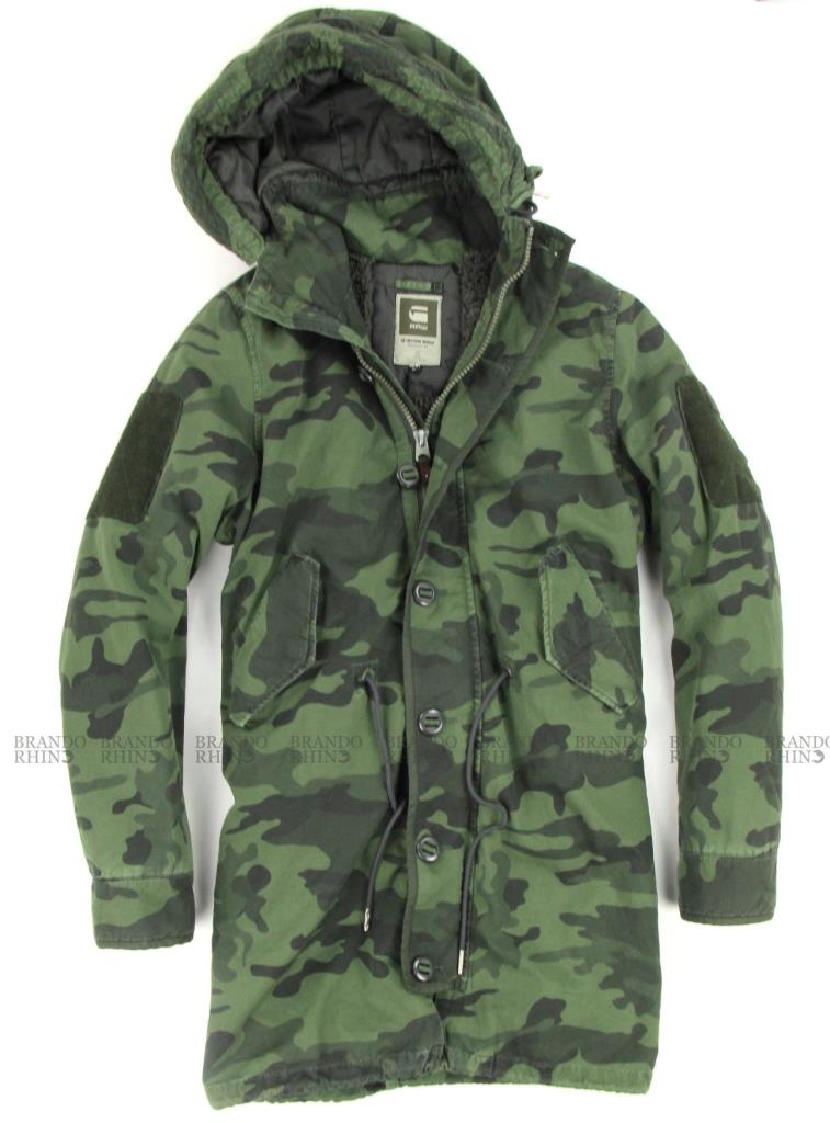 g star raw parka jacket army hood camo coat military camouflage green size s xl ebay. Black Bedroom Furniture Sets. Home Design Ideas
