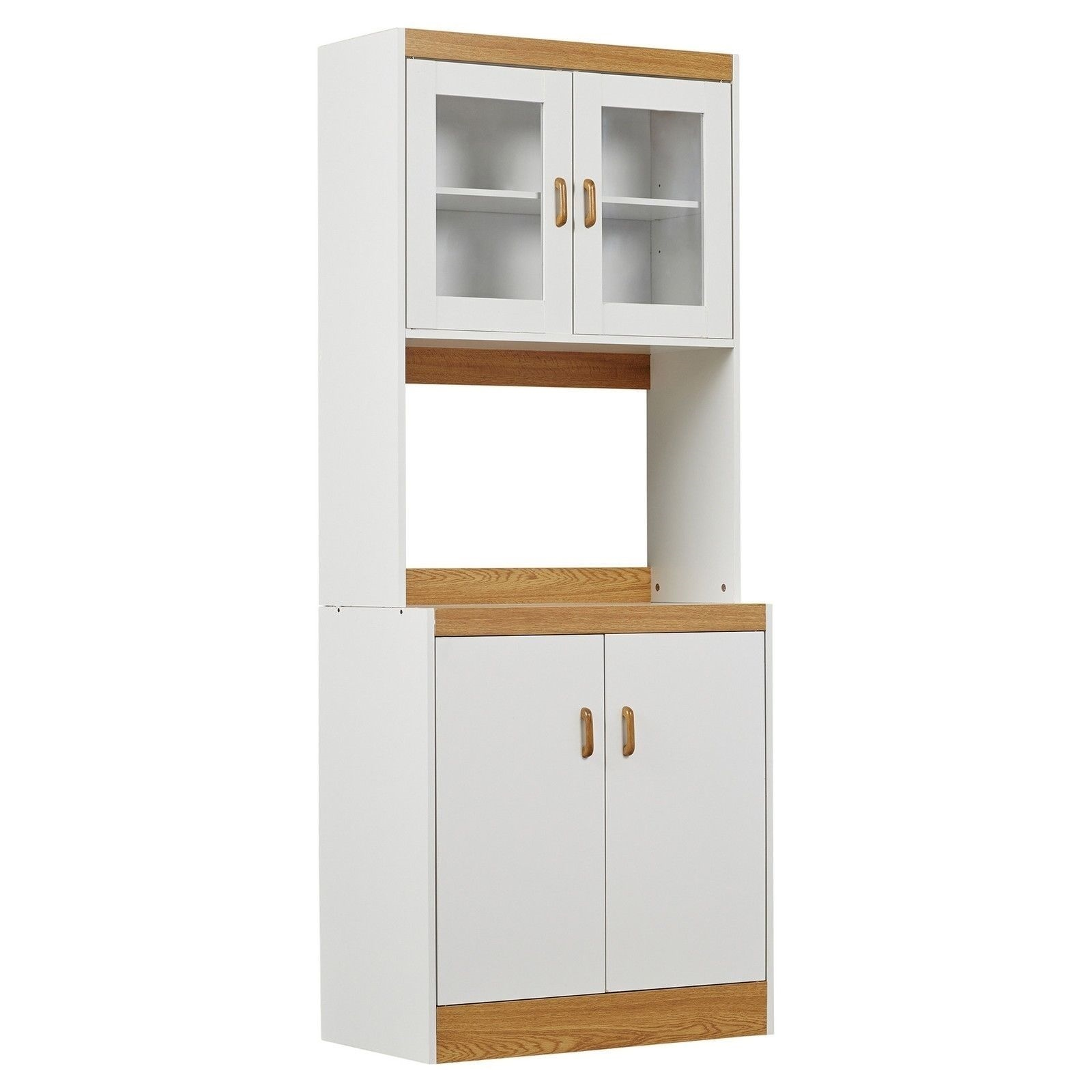 New Tall Kitchen Microwave Stand White Utility Cabinet