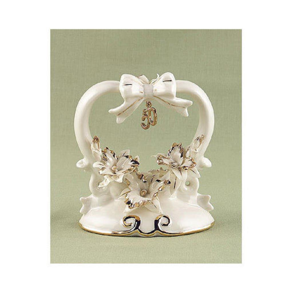 50th Wedding Anniversary Cake Toppers Heart Shaped ...