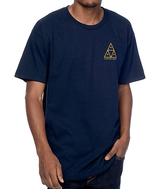 HUF Tee Triple Triangle Navy Gold Skateboard T-Shirt FREE POST
