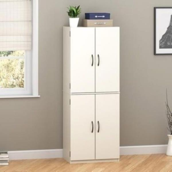 White Pantry Storage Cabinet Tall Wooden Laundry Closet Doors Organizer Cupboard