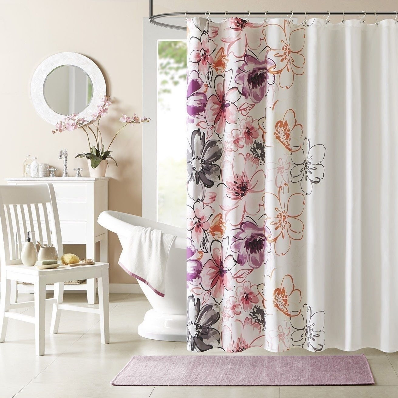 NEW Pink Orange Plum Floral Shower Curtain Fabric Modern Bathroom Bath 72 In