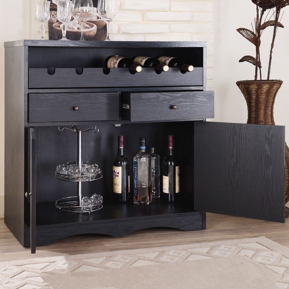 Wood Wine Bar ~ New dry bar storage folding server wine rack wooden liquor