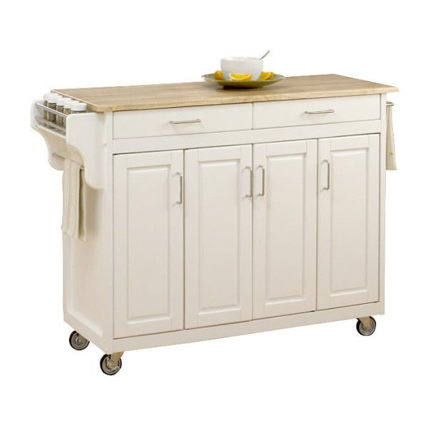 New White Large Kitchen Island Cart Utility Butcher Block
