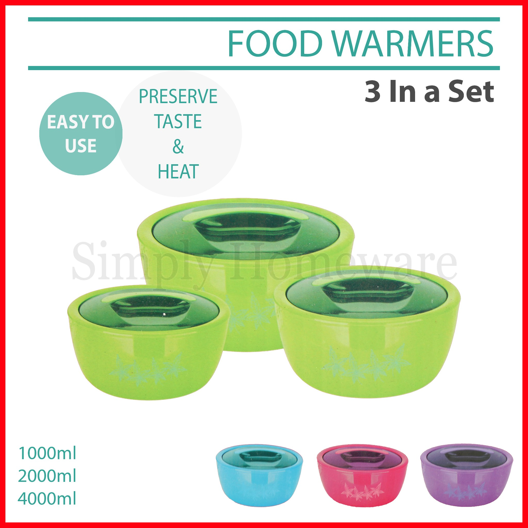 food warmers 3 in a set