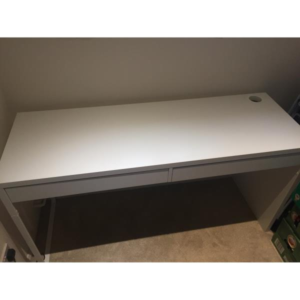 ikea white slimline office desk with two wide drawers ebay
