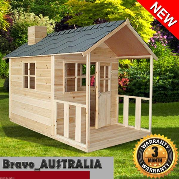 Wooden Cubby House Kids Outdoor Playhouse Fort With