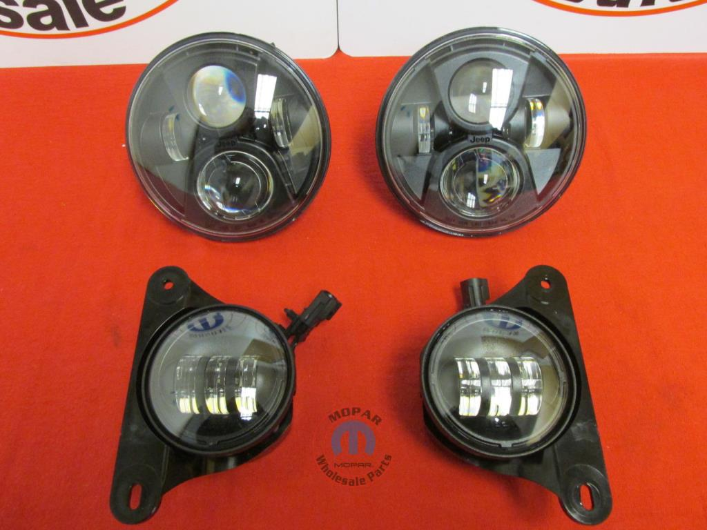 jeep wrangler upgraded led headlight and fog light set new oem mopar. Cars Review. Best American Auto & Cars Review