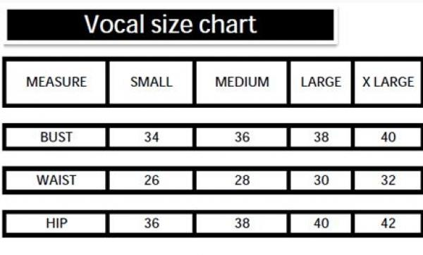 Vocal Brand Clothing Size Chart