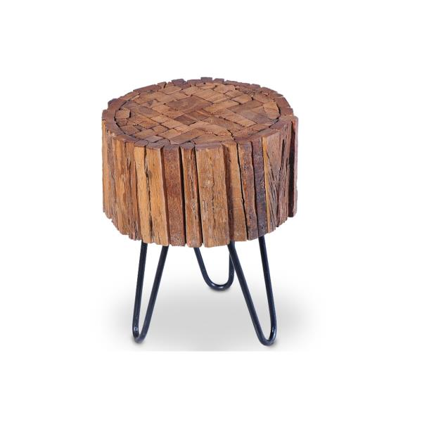 industrial vintage rustic round wooden coffee side table stool