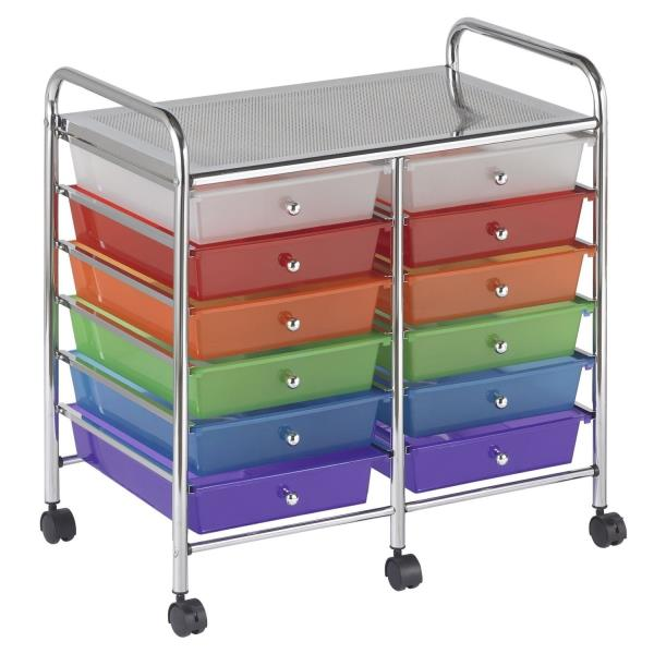 New rolling storage organization 12 shelves plastic for Rolling craft cart with drawers
