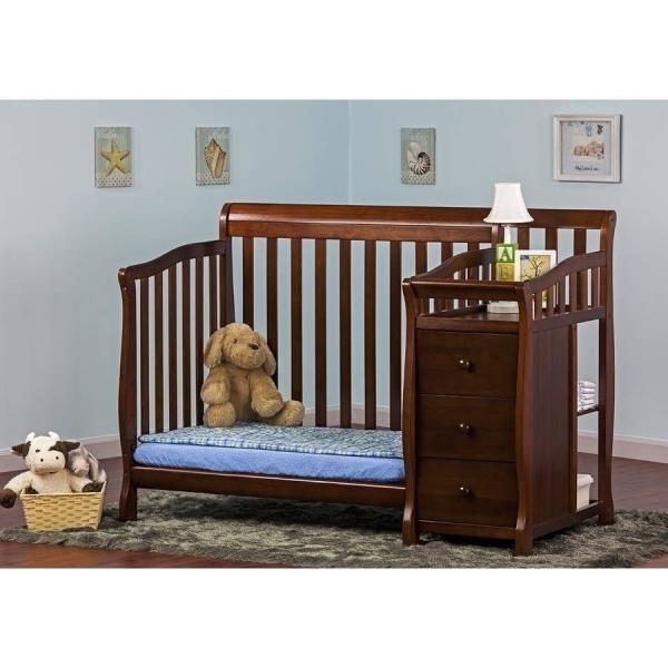 Espresso Mini Convertible 4 In 1 Crib Bed Changing Table