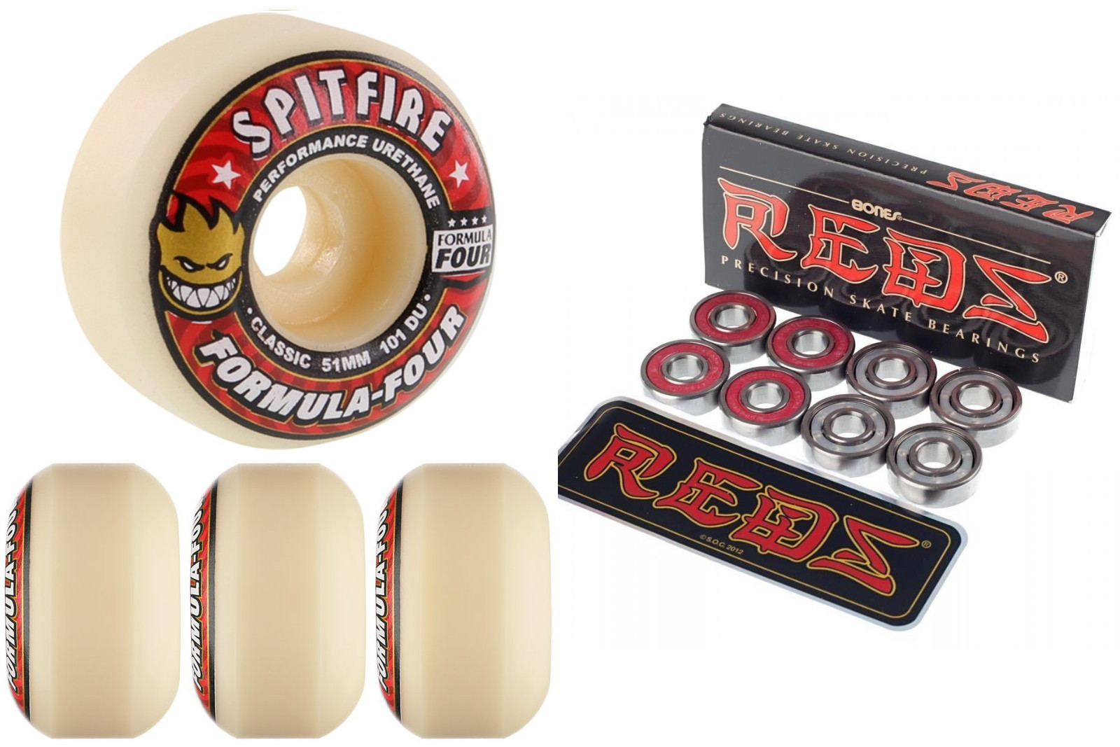 Spitfire Skateboard Wheels F4 Formula 4 Four Red 51mm 101d Classic with Bones Reds Bearings new FREE POST