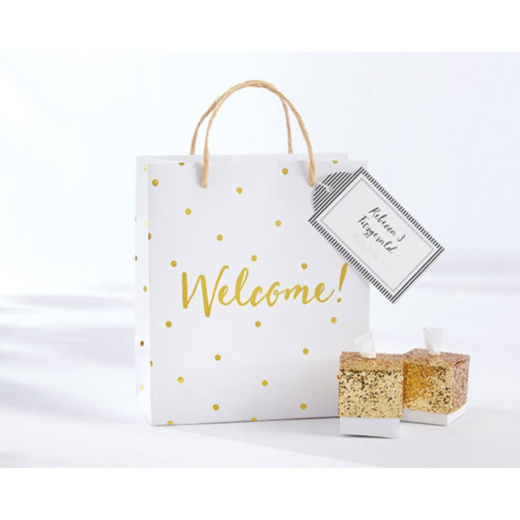 12 Gold Foil Dot Welcome Bags Bridal Shower Wedding Gift