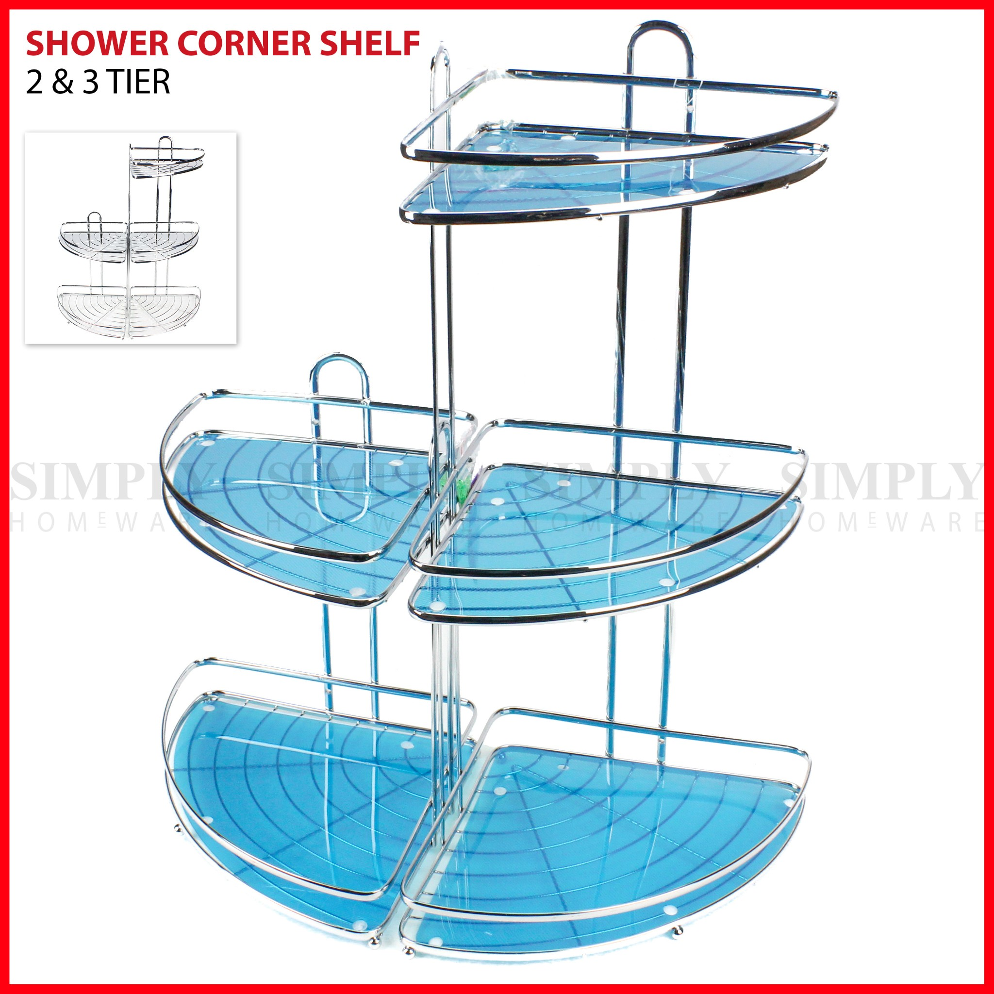 Shower Corner Shelf Chrome Caddy Shelves Organiser Bath Storage Rack Bathroom
