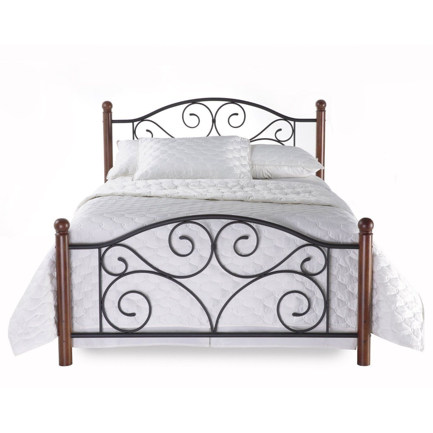 New Full Queen King Size Metal Wood Mattress Bed Frame Headboard Footboard Brown Ebay