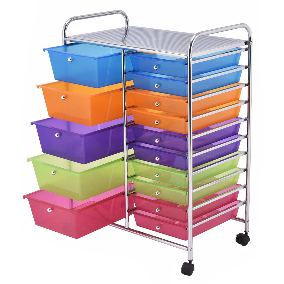 Rolling craft cart with drawers - New Rolling Storage Organization 15 Shelves Plastic Drawers Wheeled Craft Cart