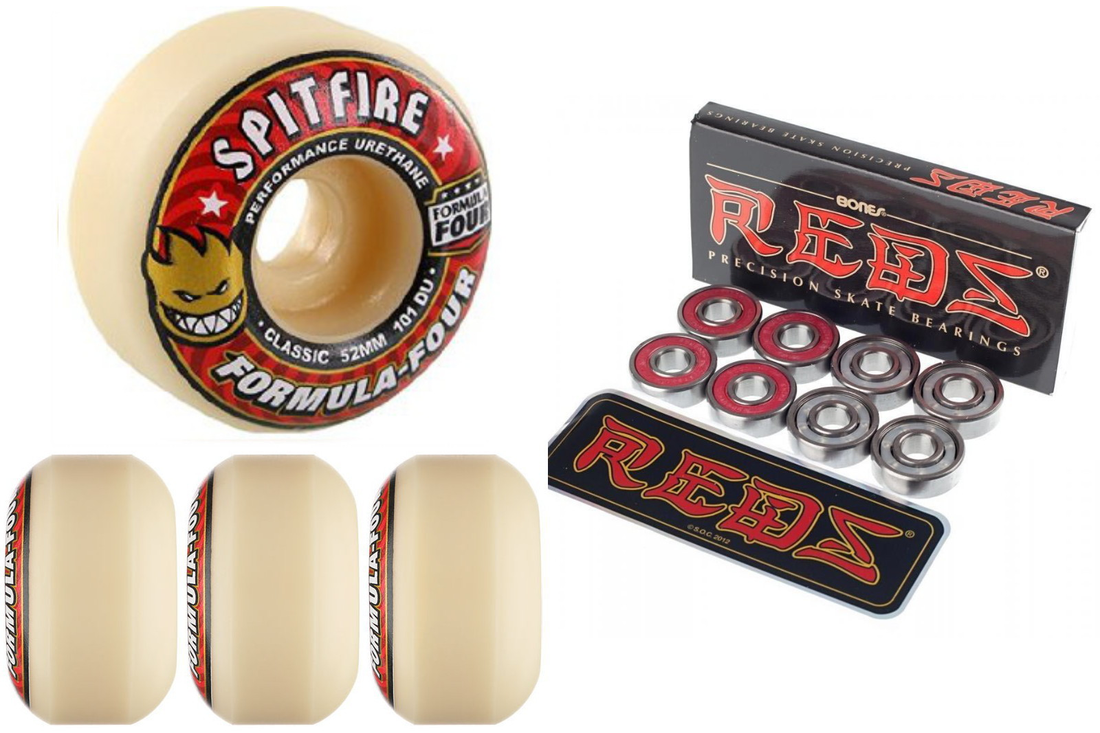 Spitfire Skateboard Wheels F4 Formula 4 Four Red 52mm 101d Classic with Bones Reds Bearings new FREE POST