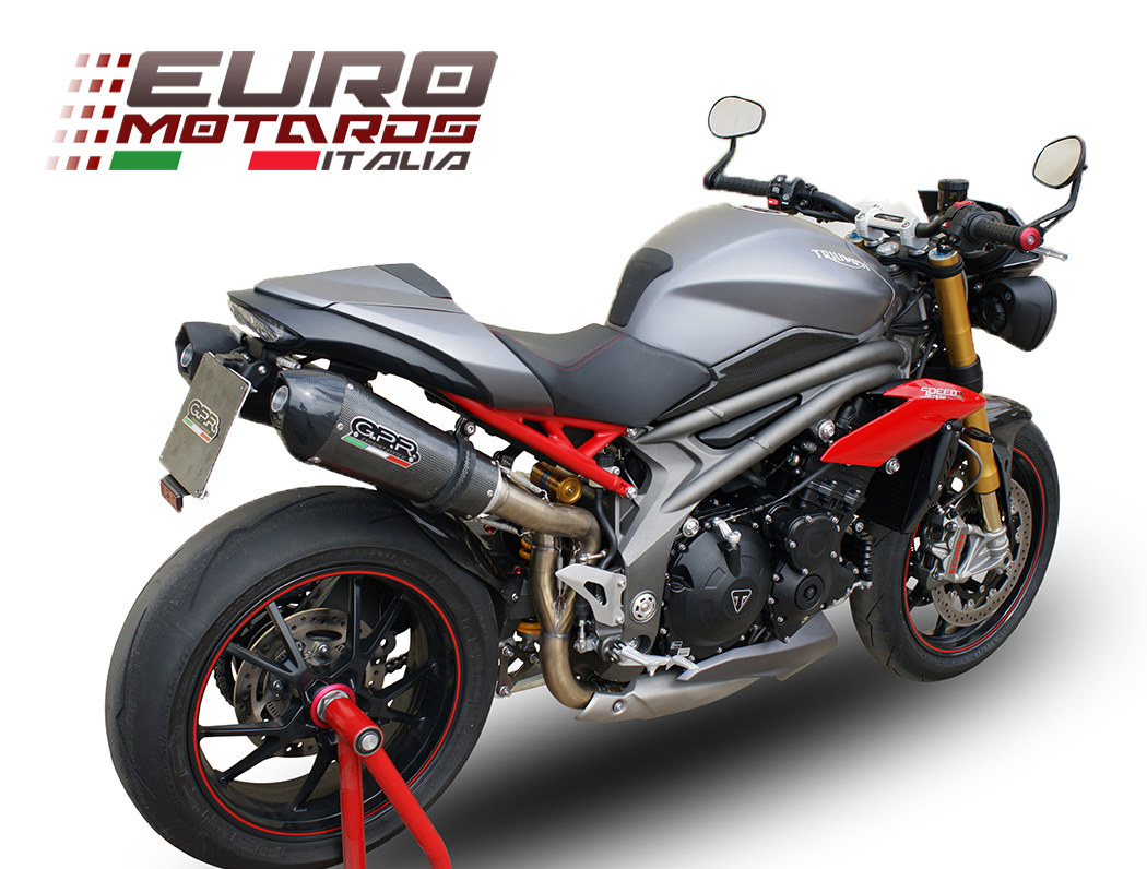 triumph speed triple 1050 r 2016 1in2 gpr exhaust dual silencers gpe cf new ebay. Black Bedroom Furniture Sets. Home Design Ideas