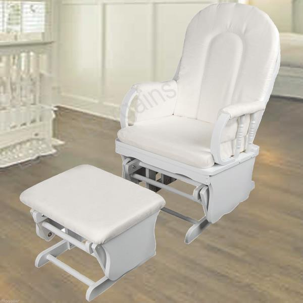 Details about Wooden White Rocking Chair & Ottoman Sliding Glider Baby ...