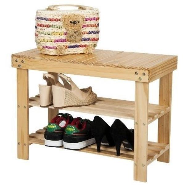 NEW Natural Pine Shoe Bench Solid Wood