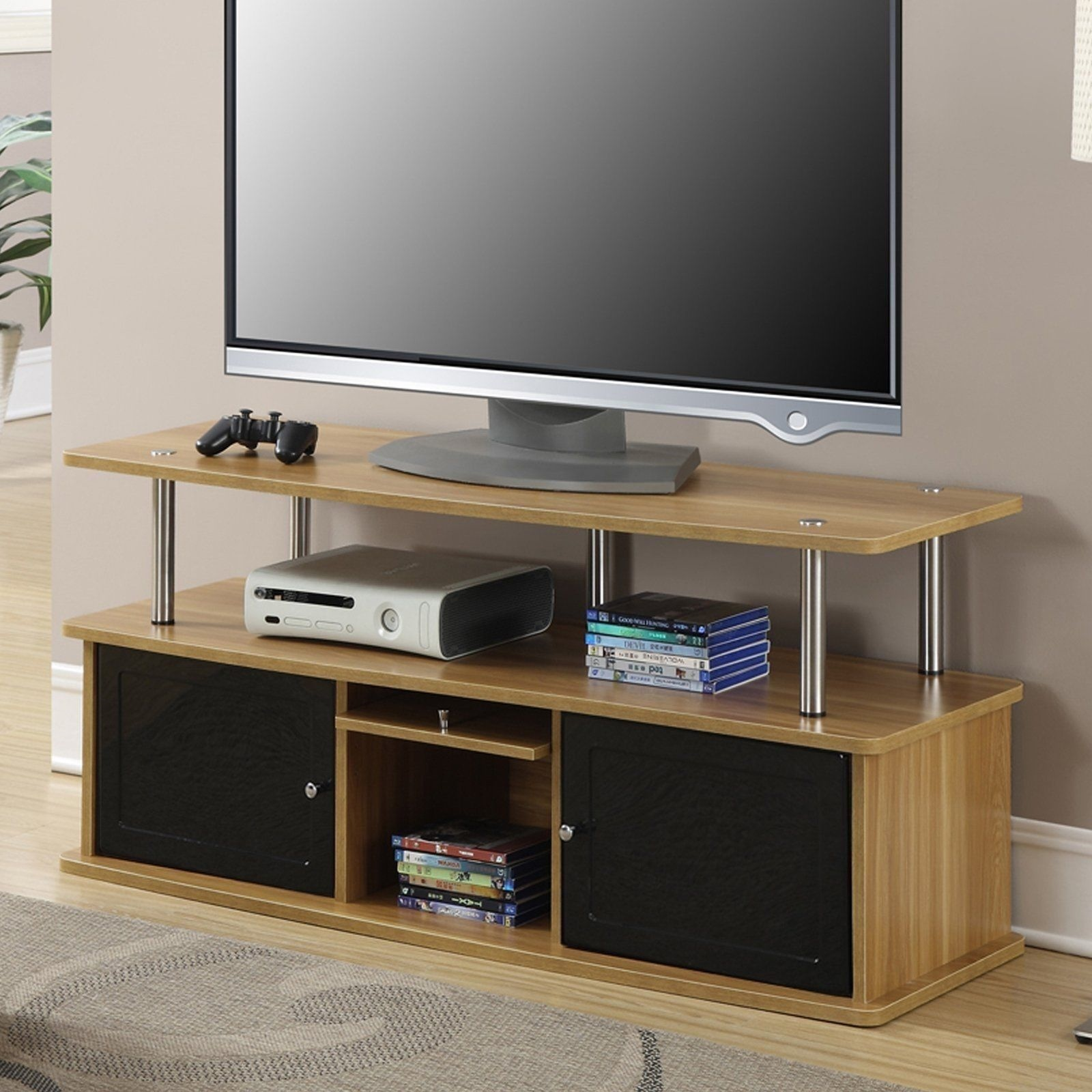 NEW TV Stand Oak Home Entertainment Media Storage Cabinet