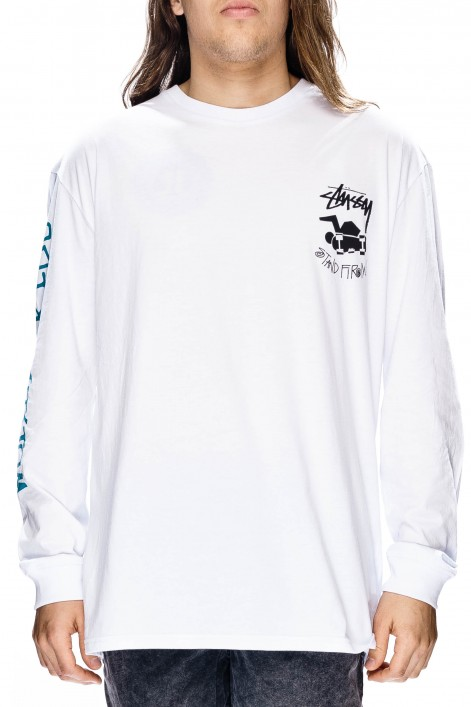 Stussy Tee Stand Firm White LS T-shirt skateboard surf Bmx Top