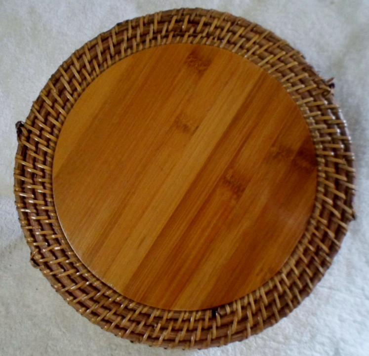 African Woven Baskets: African Woven Wood Tray Basket With Handles Fiber-Africa