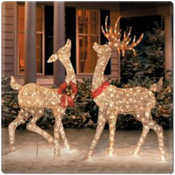 CHRISTMAS BUCK DOE SCULPTURE SET REINDEER DEER LIGHT