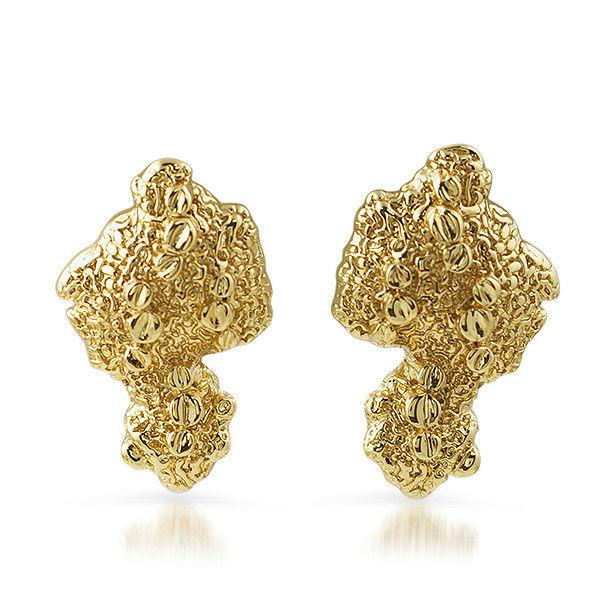 gold plated vintage large nugget earrings for ebay