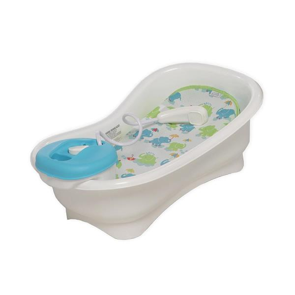 summer infants newborn bath shower center elephants tub ergonomic bathtub ebay. Black Bedroom Furniture Sets. Home Design Ideas