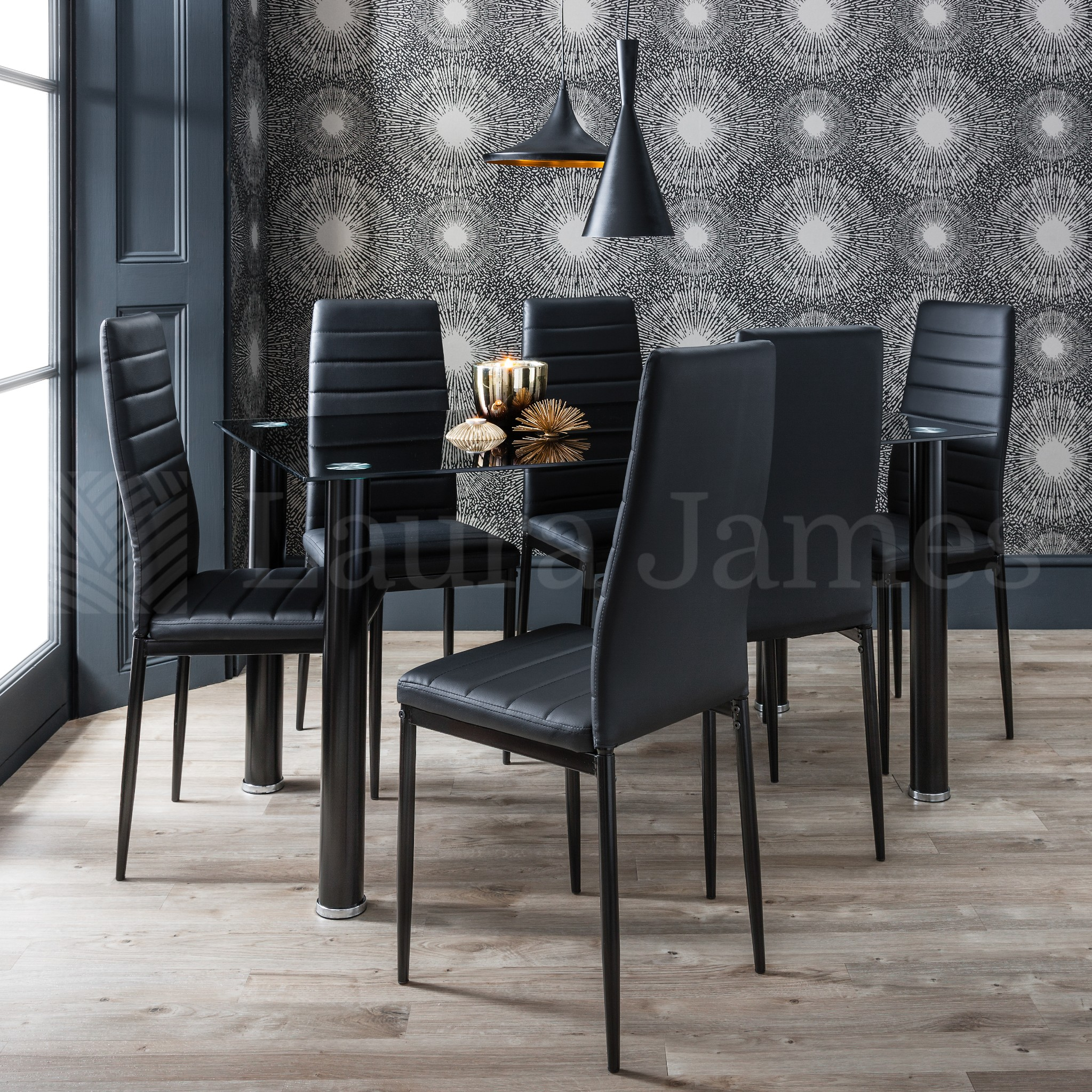 Dining Table And 6 Chairs Set Glass Dining Table Black And