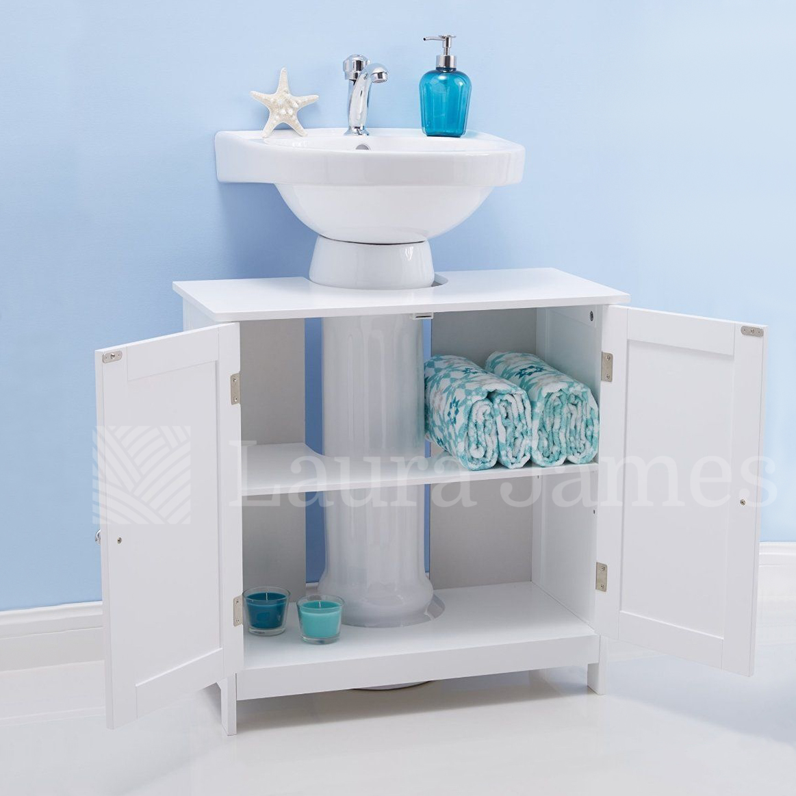 Under sink bathroom cabinet storage unit cupboard white ebay for Bathroom under sink organizer